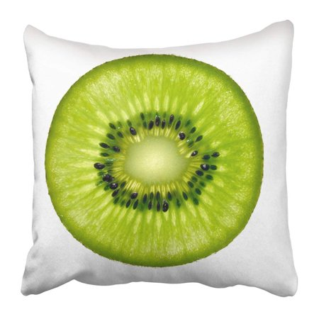 - ARTJIA Green Half Slice Of Fresh Kiwi Fruit White Circle Pillowcase 20x20 inch