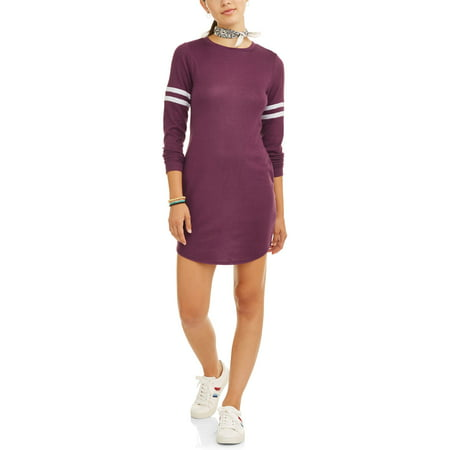 (Eye Candy Juniors' Scoop Neck Dress with Sleeve Stripe)