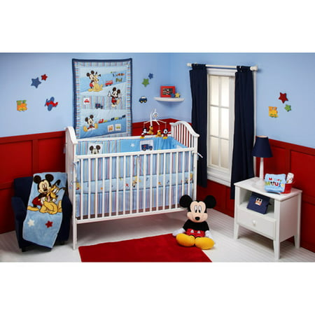 Disney Baby   Mickey Mouse and Pluto 4 Piece Crib Bedding Set. Disney Baby   Mickey Mouse and Pluto 4 Piece Crib Bedding Set