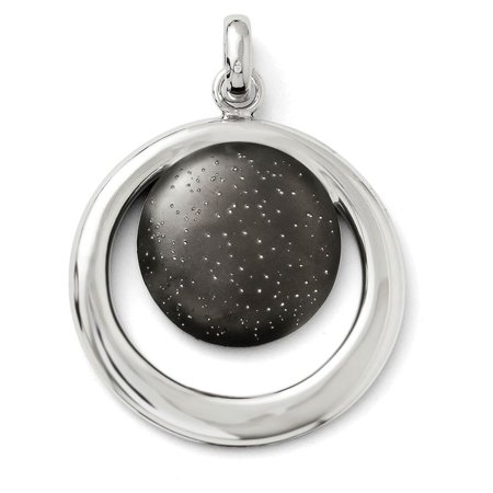 Finejewelers Sterling Silver Rhod and Ruthenium Radiant Essence Pendant Necklace