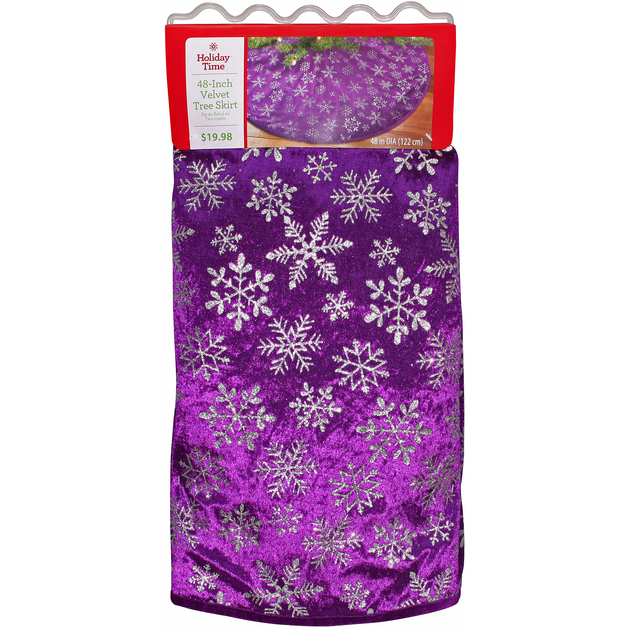 Holiday Time Christmas Decor Purple Snowflake Tree Skirt - Walmart.com