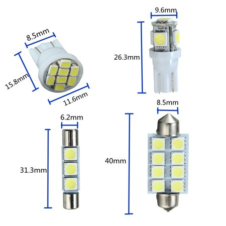 15pcs T10 W5W 31/42MM Festoon Dome Car Light LED Interior Package Light Bulb DC 12V For 07-13 Chevy Silverado - image 6 of 8