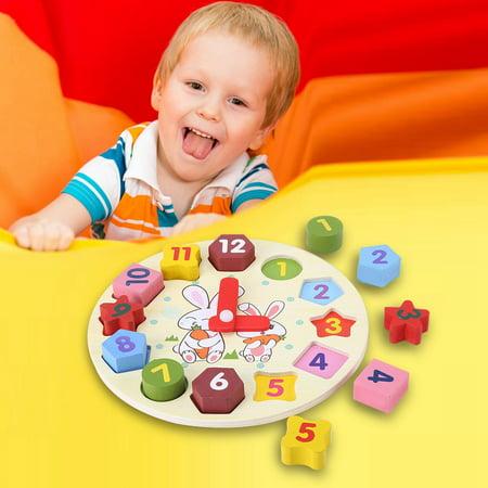 - Zerone Children Cartoon Rabbit Puzzle Educational Wooden Digital Geometry Clock Toy Set Gift,Children Puzzle Clock, Geometry Clock Toy