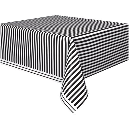 Marvelous Black Striped Plastic Party Tablecloth 108 X 54In Download Free Architecture Designs Xaembritishbridgeorg