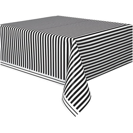(4 pack) Black Striped Plastic Table Cover, 108