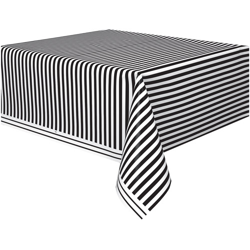 "Black Striped Plastic Table Cover, 108"" x 54"""