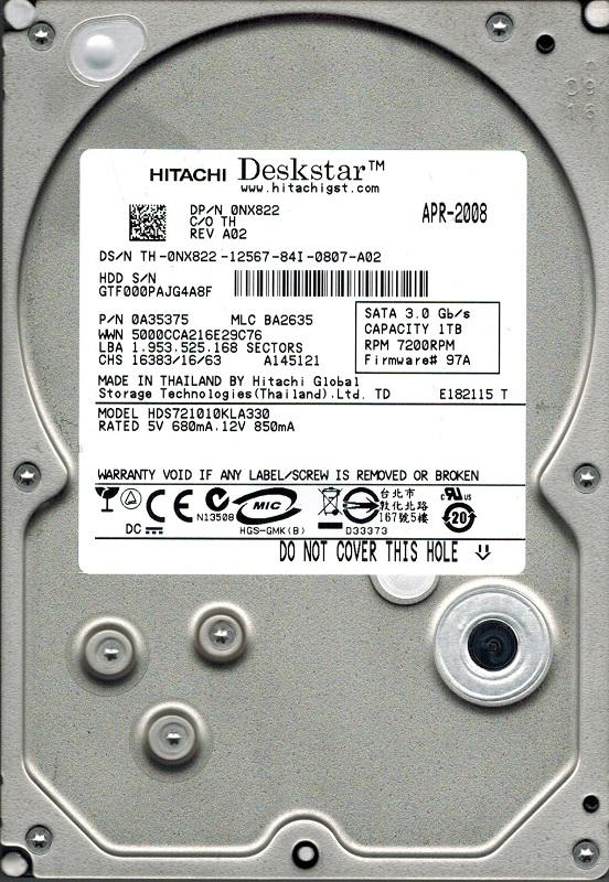 Hitachi HDS721010KLA330 P N: 0A35375 MLC: BA2635 1TB by Hitachi