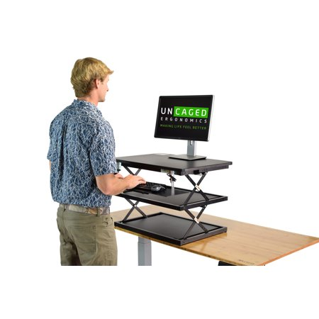 CHANGEdesk Tall Ergonomic Standing Desk Converter with Adjustable Height Keyboard Tray affordable compact sit stand up desktop computer riser conversion tabletop table topper office workstation ()