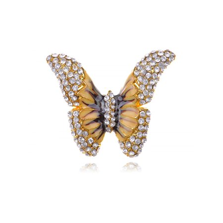 Golden Tone Brown Yellow Enamel Wings Butterfly Crystal Rhinestone Sized Ring - Rhinestone Rings