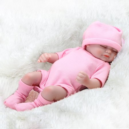 Handmade Kids - 11Inch Newborn Baby Dolls Cute Realistic Soft Silicone Vinyl Dolls Lifelike Sweet Dream Baby Dolls With Clothes Handmade Gift Kid Weighted Alive Lovely Doll