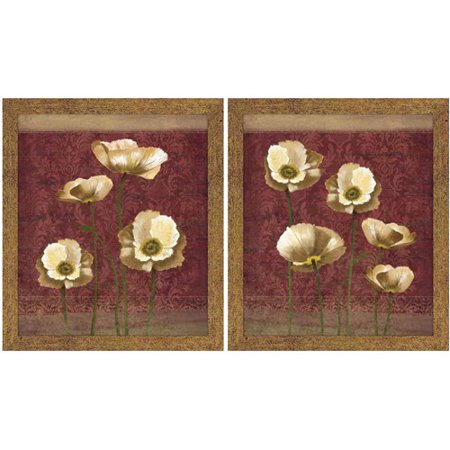 Burgundy and Gold Floral Wall Art, Set of 2 Burgundy Gold Art Print