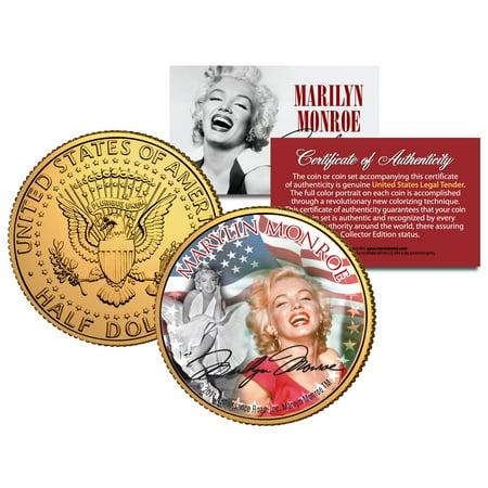 MARILYN MONROE * Americana * Colorized JFK Half Dollar U.S. Coin 24K Gold