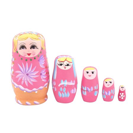 Unique Bargains Russian Babushka Flowers Painted Nesting Matryoshka Doll Pink 5 in 1