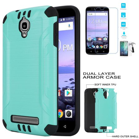on sale 4dc41 25485 Phone Case for Coolpad Canvas DCPN5002 (Cricket Wireless) Tempered Glass  Screen with Cover (Combat Teal-Black TPU/ Tempered Glass)