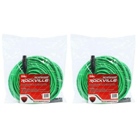 2 Rockville RCXFM100P-G Green 100' Female to Male REAN XLR Mic Cable 100% Copper