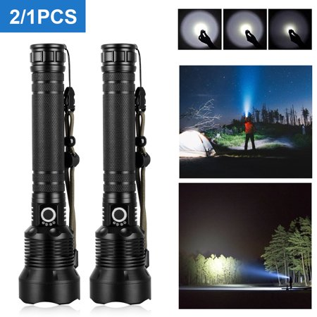 2/1Pcs Tactical Flashlight, USB Rechargeable High Power CREE XHP70 Super Bright Waterproof Zoomable Torch (Battery Included), High Lumens, Power Display, 3 Light Modes for Outdoor Camping, Emergency High Power Tactical Flashlight