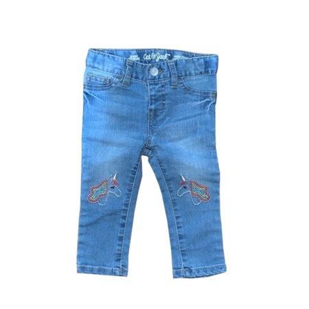 Cat & Jack Baby Girls Size 4T Stretch Skinny Jeans w/Embroidery Unicorns, Lt. Blue