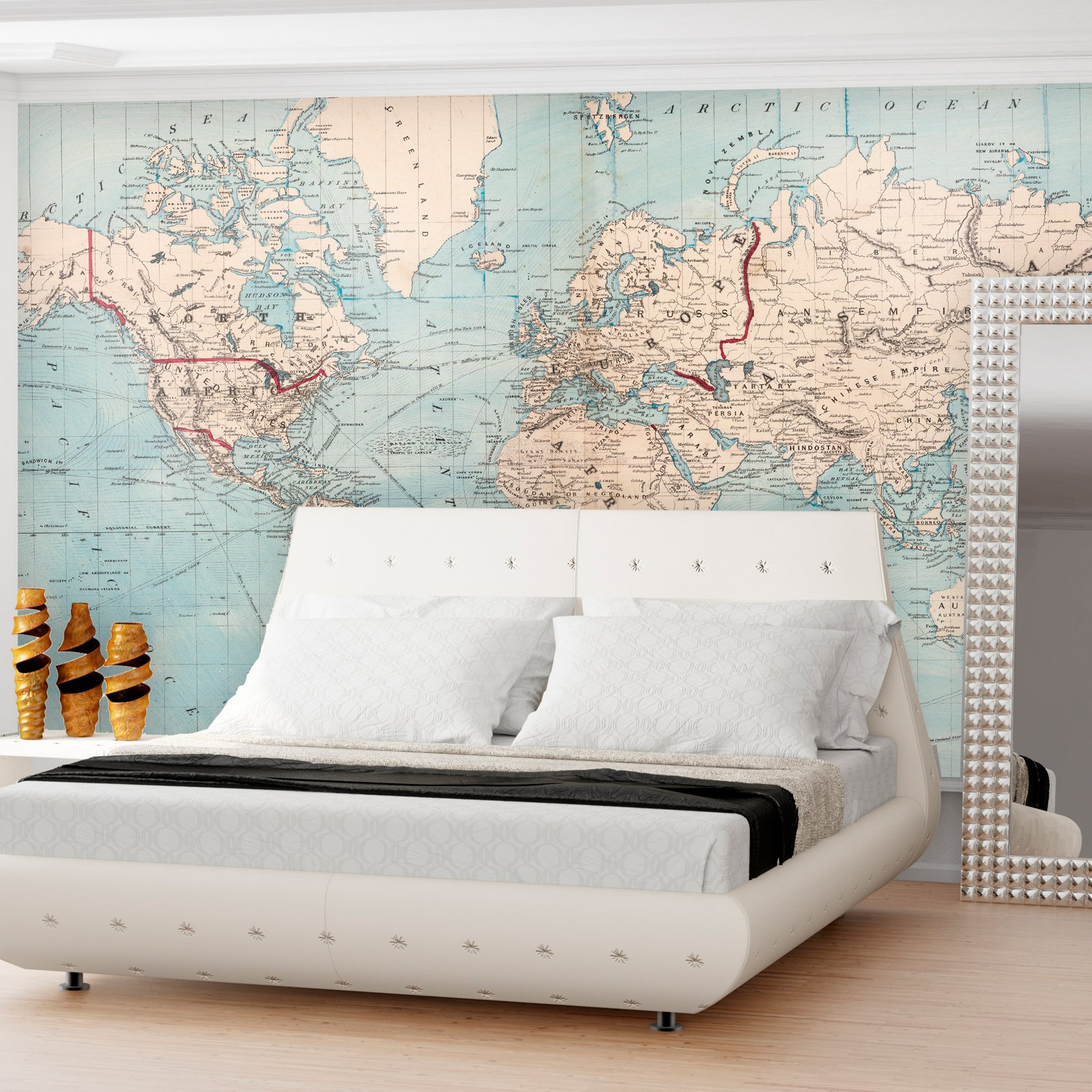 Swag Paper World Map 1876 Shipping Routes Self Adhesive Wallpaper