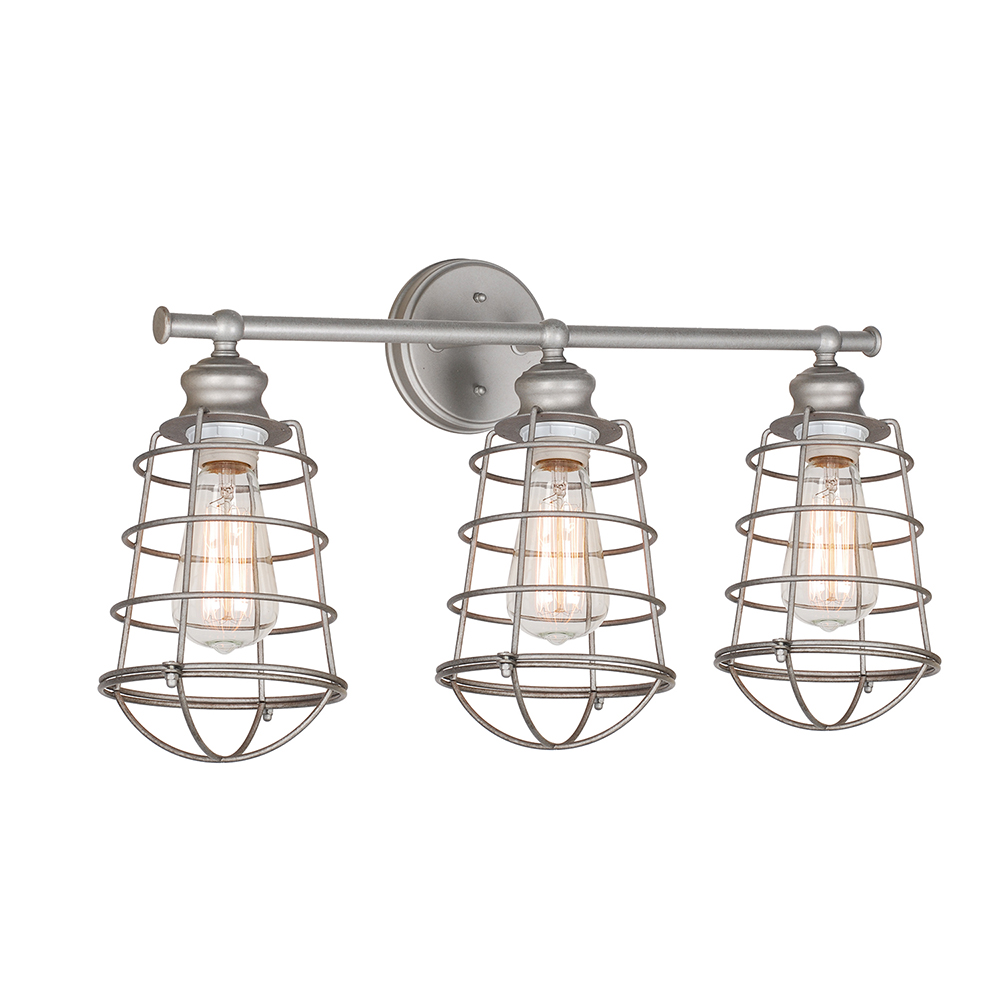 Design House 519728 Ajax 3-Light Vanity Light, Galvanized Steel
