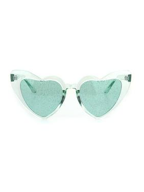 Product Image Womens Glitter Lens Heart Shape Plastic Valentine Cat Eye  Sunglasses Clear Pink 622f8b603
