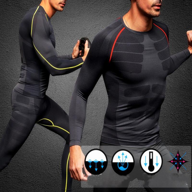 Jeteven Men Compression Long Sleeve Sport Tight Shirt Fitness GYM Base Layer Tops US,[M] Black+Green color