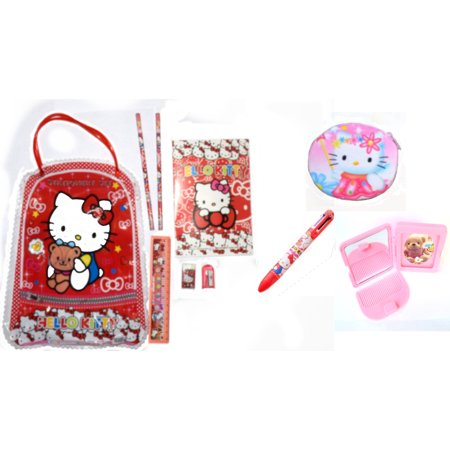 The Totebag (Hello Kitty Style School Supply Hand Totebag Six Color Ink Pen Compact Mirror Comb Set,)