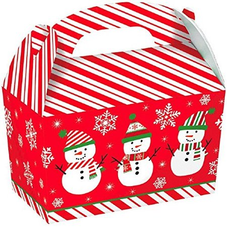 Large Snowman Cardboard Gable Boxes Christmas Party Gift Favour (5 Pieces), Red, 7
