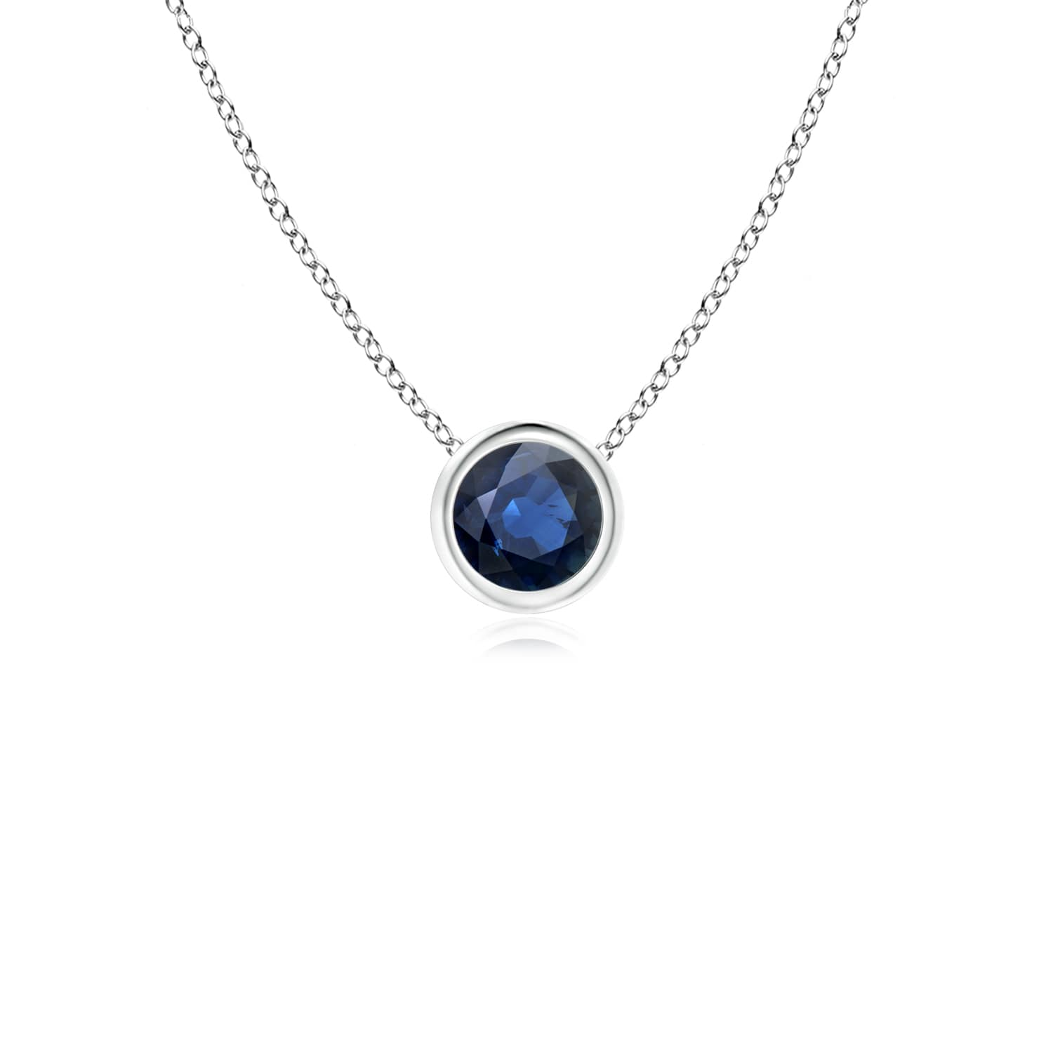 September Birthstone Pendant Necklaces Bezel Set Round Blue Sapphire Solitaire Pendant in 950 Platinum (4mm Blue... by Angara.com