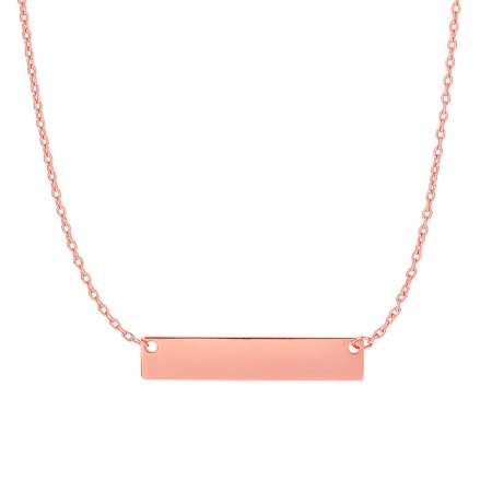 42d41c3674d92 14k Rose Gold Shiny 4.9-1.1mm Horizontal Square Tube Bar Anchor Necklace-  18