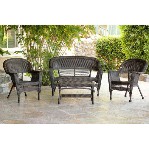 Jeco W00201-G Espresso Wicker Conversation Set - 4 Piece