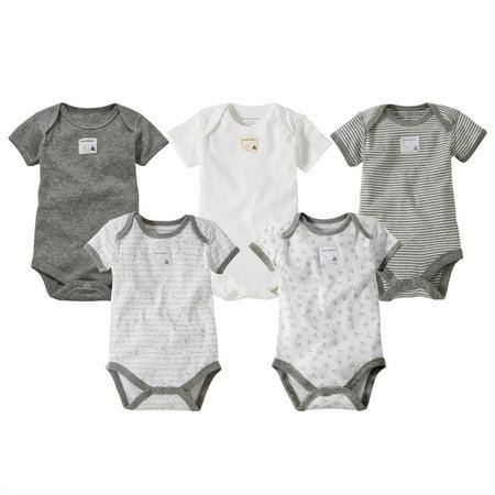 Burts Bees Baby® Organic Cotton 5pk Short Sleeve Bodysuit Set - Heather Gray 0-3M