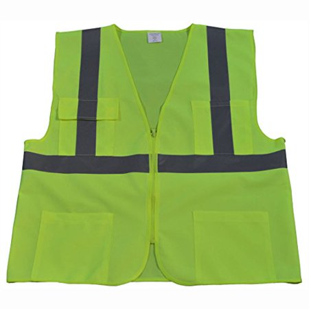 Petra Roc LV24-4X/5X ANSI Class 2 4 Pockets Zipper Closure Safety Vest, 4X-Large/5X-Large, Lime Solid