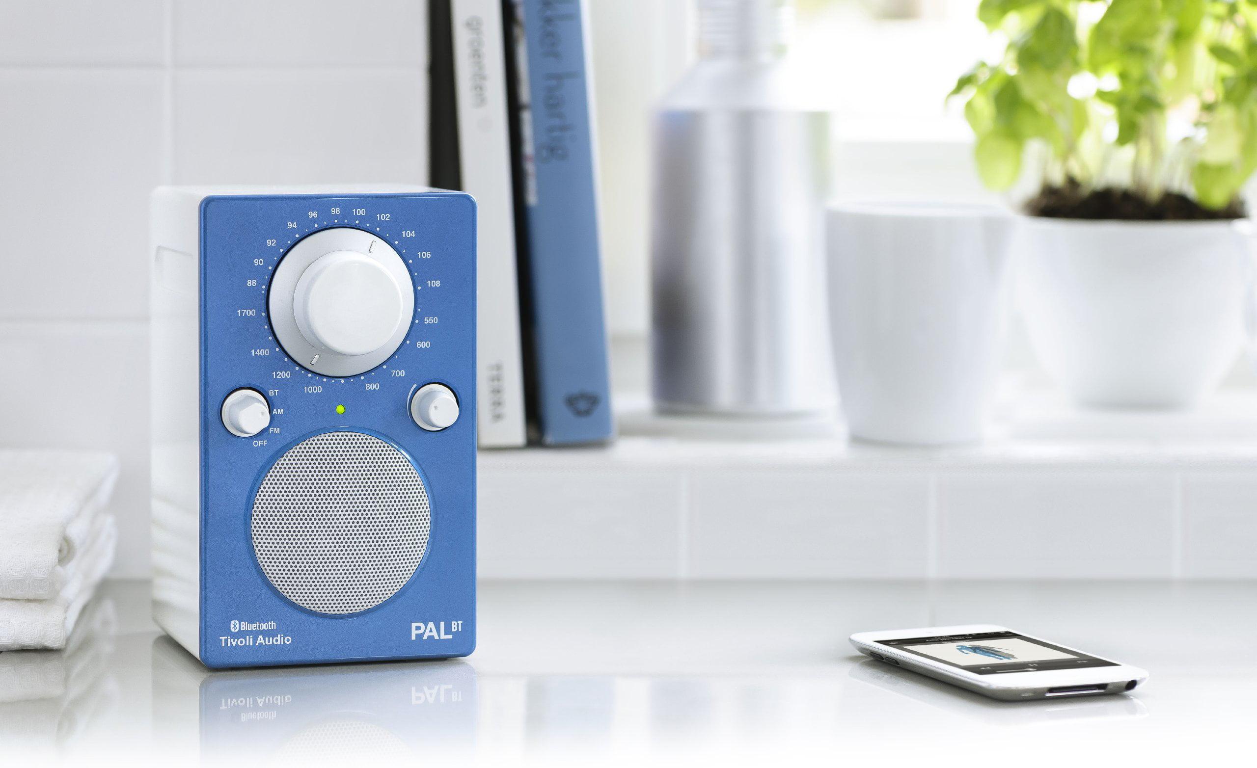 Tivoli Audio Pal BT Bluetooth Portable Radio, Glossy Blue White by Tivoli Audio