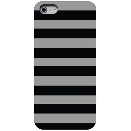 CUSTOM Black Hard Plastic Snap-On Case for Apple iPhone 5 / 5S / SE - Black & Grey Bold Stripes