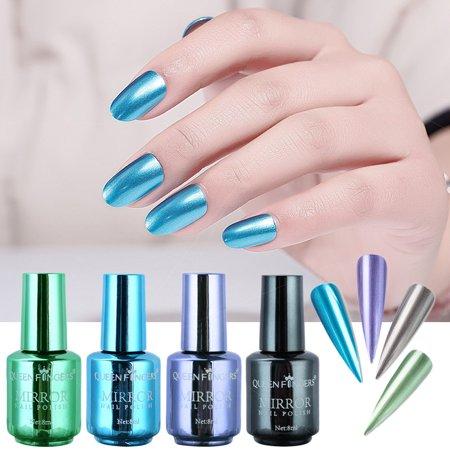 American Science & Surplus 4 Pcs Plating Metallic Gel Nail Polish Set Magic Semi-Mirror Effect Nail Lacquer (American Nail)