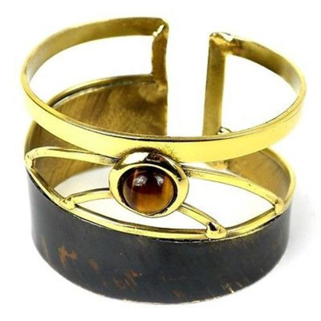 Brass Images Tiger Eye Rectangle Brass Cuff