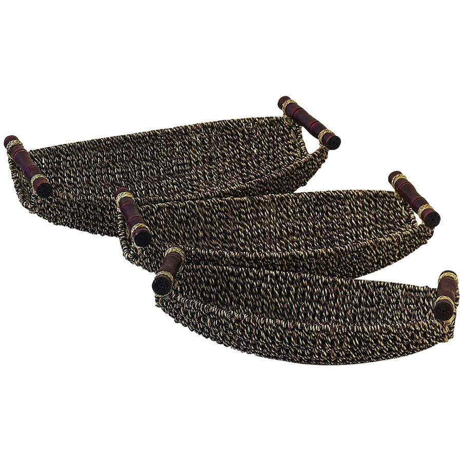Decmode Seagrass Metal Basket, Set of 3, Multi Color