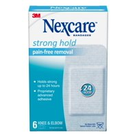 Nexcare Strong Hold Pain-Free Removal Bandages for Knee & Elbow, Made by 3M, 2 inches x 4 inches, 6 Count