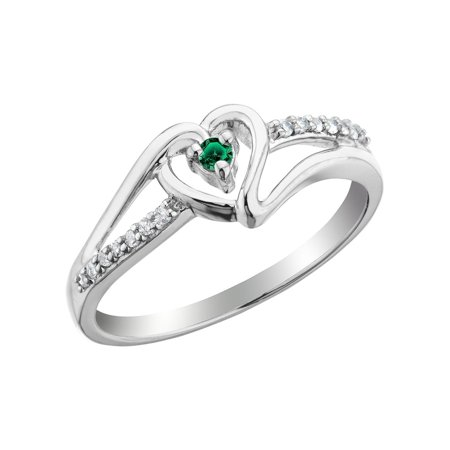 (Emerald Heart Promise Ring with Diamonds 1/10 Carat (ctw) in Sterling Silver)
