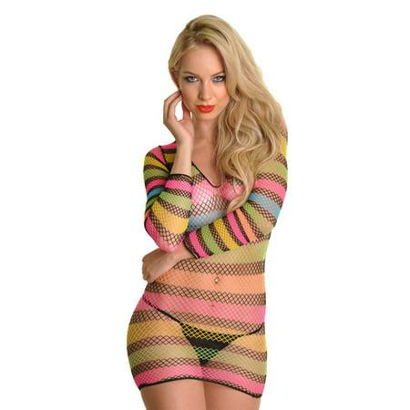 Angelina Neon Stripe Long Sleeves Fishnet Mini Dress (1-Pack)