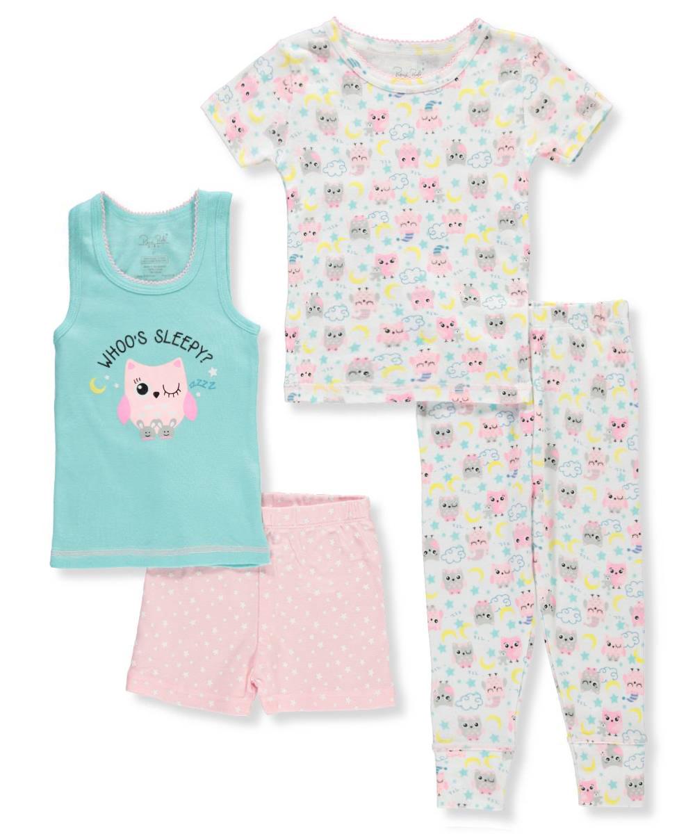 Rene Rofe Girls' 4-Piece Mix-and-Match Sleepwear Set