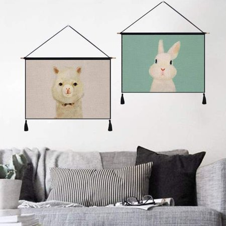 Modern Cute Animal Wall Hanging Art Cotton Painting Tapestry Home Office Decor ()