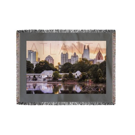 Atlanta  Georgia   Piedmont Park   Lantern Press Photography   60X80 Woven Chenille Yarn Blanket