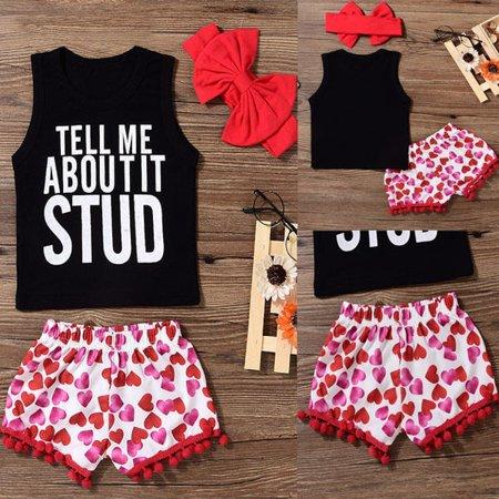 Fashion Newborn Toddler Kids Baby Girls Sleeveless Vest Outfits Clothes T-shirt Tops+Pants Heart Shorts 3PCS