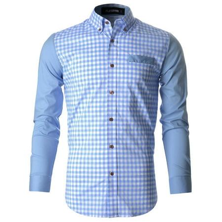 FLATSEVEN Mens Casual Gingham Woven Check Plaid Slim Fit Shirt (SH1008)