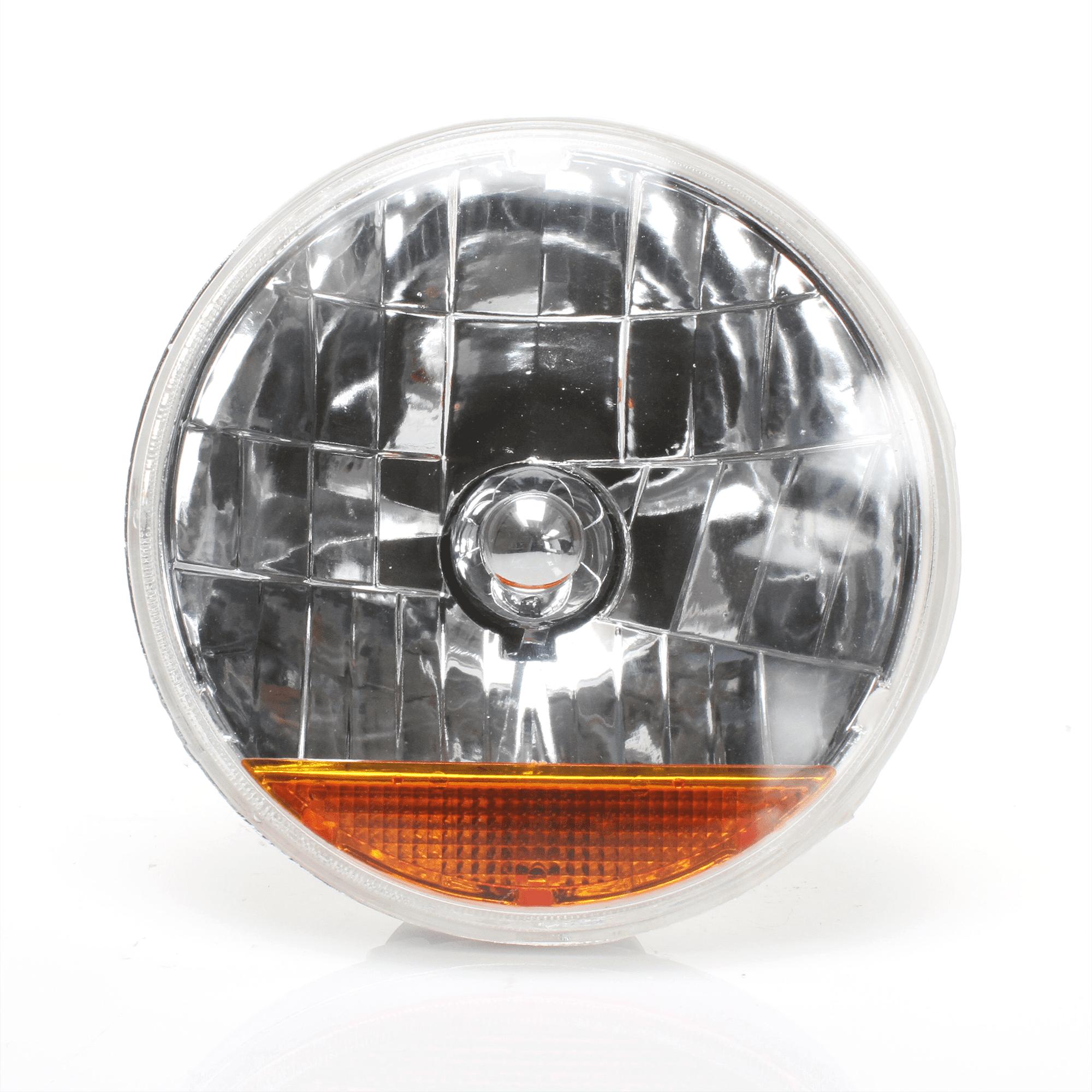 "AutoLoc Snake-eye 7"" Inch Halogen Lens Assembly  W/ Amber Turn Signal"