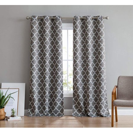 HLC.ME Lattice Print Decorative Blackout Thermal Privacy Room Darkening Grommet Window Drapes Curtain Panels for Bedroom - Set of 2 (Lattice Privacy Panels)