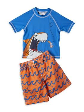 Wippette Baby Toddler Boy Shark Rashguard & Swim Trunks, 2pc Set