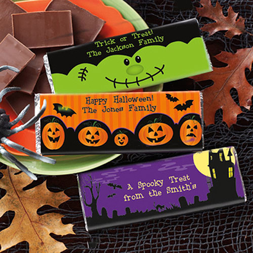 Personalized Halloween Candy Wrappers, Pumpkins, Set of 30