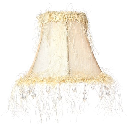 - Livex Lighting Silk Bell Clip Shade with Corn Silk Fringe and Beads